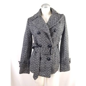Giacca Gallery Size S Black Gray Belted Jacket